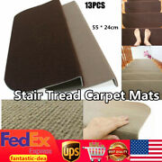 13pcs Stair Tread Carpet Mats Step Non-slip Home Stair Mat Protection Pads