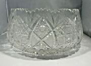 A Vintage Large 9 Inch Diameter Queen Lace Cut Crystal Bowl