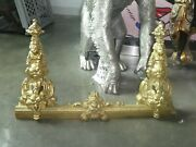 19th Century Bronze Fireplace Firedogs / Chenets And Guard With Angel Heads