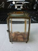 Unusual Miniature Victorian Cut Crystal And Brass Carriage Display Case
