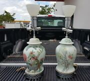 2 Superb Quality Chinese Antique Ginger Jar Famille Rose Lamps