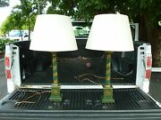 Pair French Style Neoclassical Painted Tole Lamps Adorned W Vines And Violins