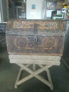 Old Spanish Colonial Hand Tooled Leather Dome Trunk / Chest