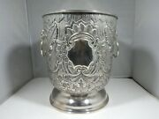 Sterling Silver .900 Pure Ice / Champagne Bucket With Lions Heads 37.2 Oz