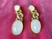 Fab Pair Of Vintage Early Kenneth J Lane Simulated Opal And Diamond Drop Earrings