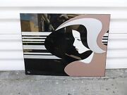 Very Large Stylized Van Teal Lucite Figural Head Wall Art Plaque -p