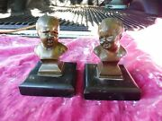 Pair Of 19th C Bronze Baby Heads One Crying, One Laughing, Really Cute