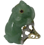 Chinese 14k Gold Jade Foo Dog Ring With Pave Diamonds And Ruby Eyes