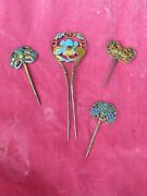 4 19th C Beautiful Chinese Silver And Enamel Hair Pins, One W Kingfisher Feathers