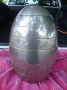 Tommaso Barbi 70's Mod Space Age Stacked Aluminum Clad Egg Sculpture Tray