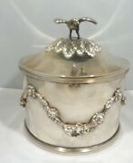 Heavy Round Sterling Silver Box With Eagle Top 29.92 Troy Ounces Hallmarked