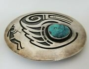 Hopi Sterling Silver And Turquoise Belt Buckle By Victor Coochwytewa And Kopavi Shop