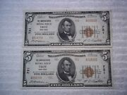1929 5 Troy New York Ny National Currency T2 721 2 Consecutive Pmg 55