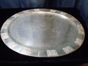 Vintage Antique Mexican Sterling Silver 44 Oz.hand Hammered Tray Signed Vigueras
