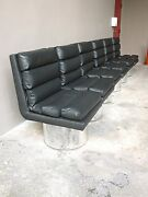 4 70and039s High End Futuristic Designer Leather Dining Chairs W Fat Chrome Bases