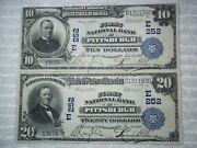 1902 10 20 Pittsburgh Pa National Currency Plain Back 252 1st Nb 2 Notes