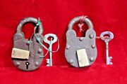 2 Pc. Iron Brass Lock And Key Old Antique Vintage Rare Collectible Bc-97