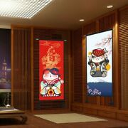 Lucky Cat Tapestry Cotton Linen Wall Hanging Flag Banner Home Fengshui Retro Art