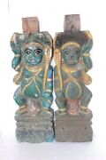 Wooden Watchman Panel Pair 1900s Old Vintage Rare Carved Z-43