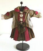 Reproduction Antique Gold Red Silk Lace Dress For 18-20 French Or German Doll