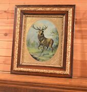 Regal Antique Stag At Bay Fashion Elk Deer Buck Print Wavy Glass 1870and039s Frame