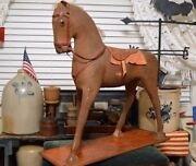Rare Antique Victorian Mache Toy Or Store Display Horse Saddle Real Hair 27x25