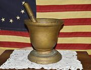 Antique 1800and039s Forged Iron Rx Apothecary Mortar And Pestle Old Gold Paint 10lbs