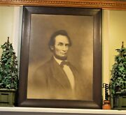 Authentic 1866 Abraham Lincoln Engraved Print Wavy Glass And Frame 36 Marshall