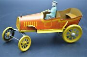 1920 Whimsical Tin Litho Trikauto F. Strauss Wind-up Roadster Car Key And Working