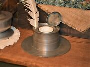 1800and039s Nautical Capstan Style Pewter Inkwell 6 Hole And Ceramic Insert 9 X 3.25