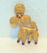 Fine French Poodle 18kt Gold /ruby/and Sapphire Brooch/pendant 19.20gr Fine Detail