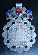 Amazing Greece Greek 1833-a King Otto 5 Drachmai Coin Silver Pendant With Stones