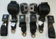 Black Chevelle Front And Rear Retractable Seat Belt Set 1964-72 Gm A Body Black