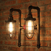 Industrial Wall Sconce Bronze Metal Cage Frame With Glass Shade Wall Light Lamp