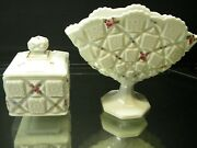 Westmoreland Roses And Bows Old Quilt Fan Vase And Matching Covered Box