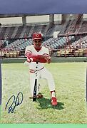 Vintage Barry Larkin Autographed 8x10 Photo Young Barry Stadium Signed Picture