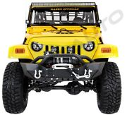 Hd Rock Crawler Front Bumper+winch Plate+2x Led Light For 97-06 Jeep Wrangler Tj