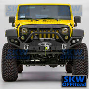 Full Width Front Bumper+winch Plate+led Mounting Hole Fit 07-18 Jeep Jk Wrangler