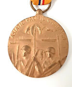 Vtg Ww2 Asiatic Pacific Campaign Operations Bronze Medal + Ribbon 1941-46 Issue