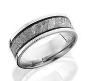 Cobalt Chrome 7.5mm Flat Band W 4mm Meteorite And Two Antique Grooves. Size 3-13