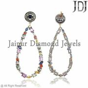 Natural Multi Sapphire Diamond Earrings Christmas .925 Sterling Silver Jewelry