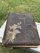 Antique Leather Photo Album Gilded 22 Cabinet Cards 25 Cdv 21 Tin Type