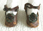 Antique Brown French Fashion Leather Doll Shoes And Black Stockings