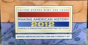 2012 Proof Silver Eagle Making American History Coin And Currency Set
