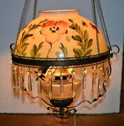 Victorian Parlor Pull Down Lamp Lovely Hand Painted Shade Prism Crystals 1890and039s