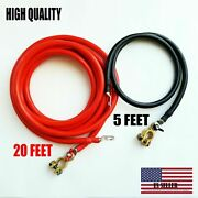 Battery Relocation Kit 2 Awg Cable Top Post 20 Ft / 5 Ft Black Usa Made