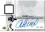 Mlb Card 2002 Ichiro Upperdeck Signed Game Used Jersey Card 131/200