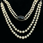 Art Deco Pearl Necklace On Silver And 9ct Gold Black Agate And Marcasite Clasp