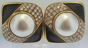 Earringssolid 18k Gold Pave Diamonds 2.50 Cts. Mabe Pearls And Black Enameldmg