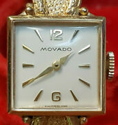 Movado Ladies Sr-62495 Antique 14k Yellow Gold In Box With Booklet